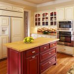 Red Cabinets Drawers With Nikel Hardwares Colorful Backsplash Glass Cabinet Doors Built In Oven Fan With Lighting Wood Flooring