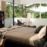 Retro Bedroom Armchair Floor Lamp Bamboo Sliding Window Treatment Bed Bedding Corner Window Curtain Exposed Pipe