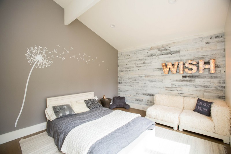 retro bedroom beige accent wall gray bedding retro light sign shag rug wall decal wall mural shag furniture sloped ceiling