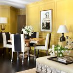 Square Pedestal Table Banded Dining Chairs Black Table Lamp Gold Table Lamp Medium Ottoman Yellow Wall Sofa Pillow Tray