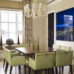 Square Pedestal Table White Chandelier Green Dining Chairs Artwork Gold Accent Table Lamp Window Curtains Valance Wood Floor