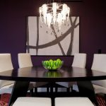 Triangle Dining Table Area Rugs Blown Glass Chandelier Contemporary Art Dining Chairs Contemporary Rug Dark Paint Walls