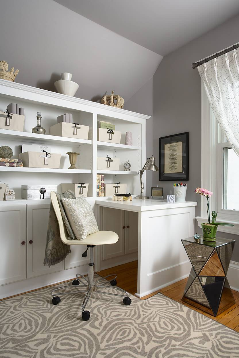 white cabinetry open cabinet storage boxes white office chair area rug faceted mirror side table wall decoration white curtain wooden floor
