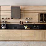 Wooden Wall Shelves Black Splashback Black Countertop Coffee Maker Wooden Cabinets Wooden Kitchen Floor Wooden Kitchen Wall Wooden Slats