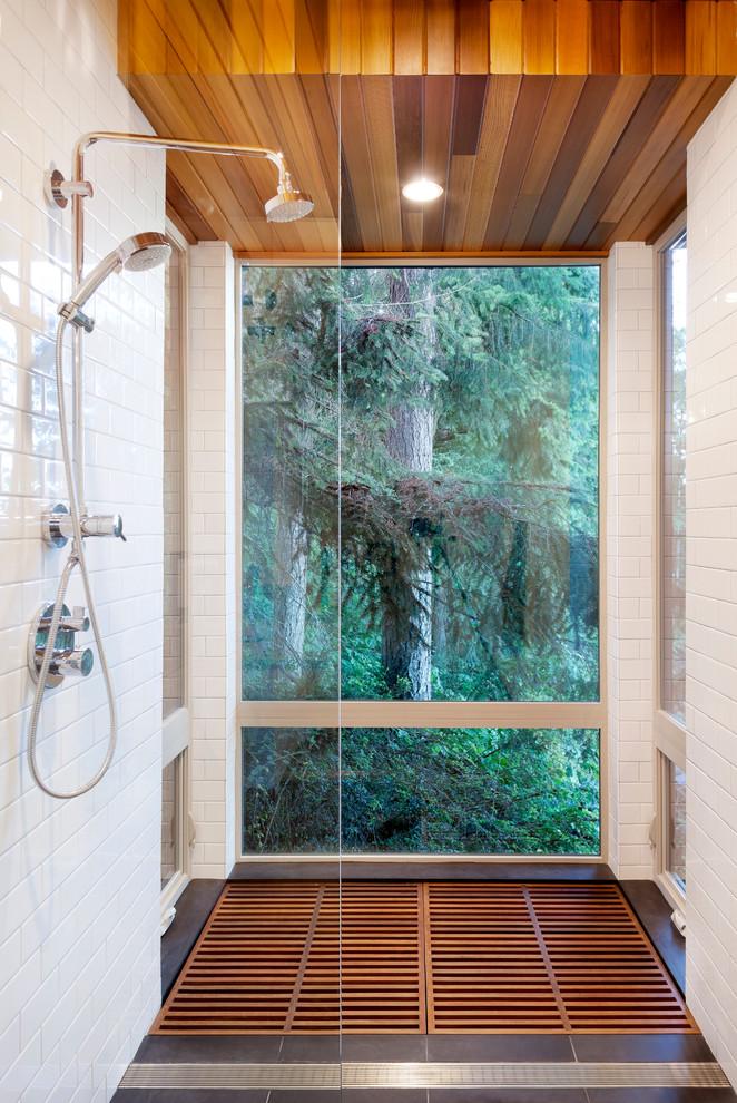 bamboo bathroom bamboo floor cedar ceiling dark floor tiles white wall tiles bathroom accessories set recessed lighting glass wall