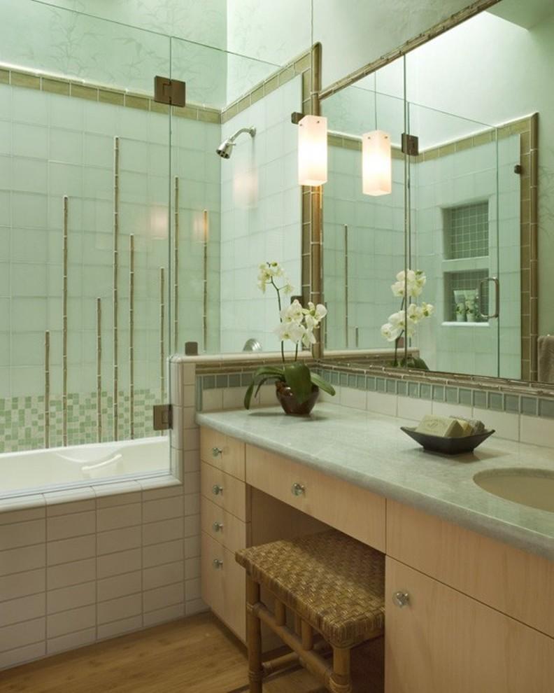 bamboo bathroom tosca walls built in tub shower faucet glass door bamboo floor mirror bamboo chair vanity undermount sink
