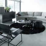 Black Rugs For Living Room Black Chair Gray Sofa Modern Fireplace Round Shag Rug Glass Wall And Doors Grey Floor