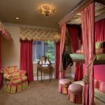 Curtain Tassels Chandelier Pink Curtains Bunk Bed Pink Wall Ottomans Beige Area Carpet Window Gold Floor Cushions Pink Pillows