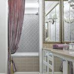 Curtain Tassels Purple Velvet Curtain Silver Curtain Rod Tub Antique Mirrors Wall Sconces Purple Towels Mirrored Vanity Beige Tiles