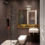 Gray Wall Tiled Wall Stone Tile Mirror Under Mirror Shelf Open Shelf Wall Light Glass Siding Wall Mounted Toilet Sink
