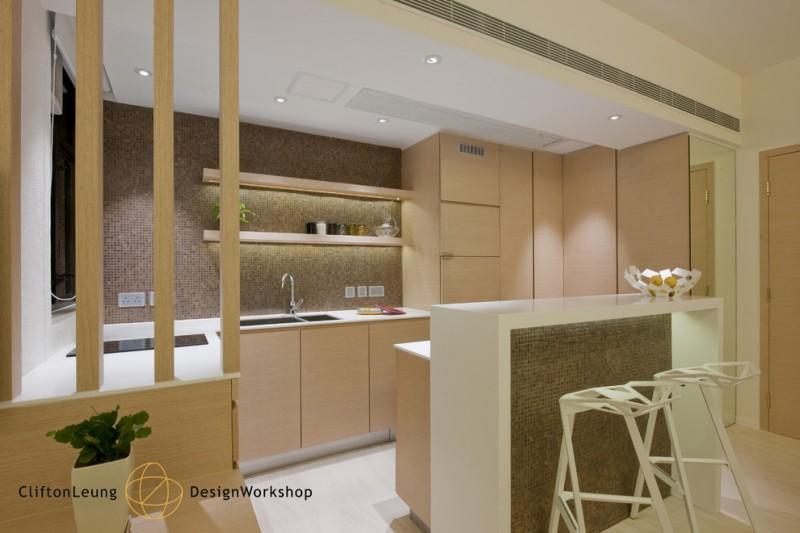 modern chic kitchen wood tone kitchen mosaic backsplash raised island barstools recessed lighting undermount sink flat panel cabinet