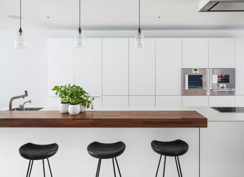 modern chic white flat kitchen panel ceiling pendant undermount sink black barstools modern range hood wood countertop