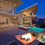 Modern Mansion Exterior Pools Pool Lighting Railings Patio Firepit Bench Dining Table And Chair Glass Walls And Doors Stairs
