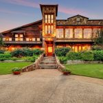 Modern Mansion Exterior Reclaimed Wood And Stone Walls Dark Roofs Stone Stairs Mansion Gardens Glass Walls Window And Doors