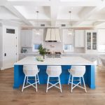 Nautical Kitchen Blue Kitchen Island Kitchen Cabinets Glass Pendants Barstools Tray Ceilings Small Windows With Shades