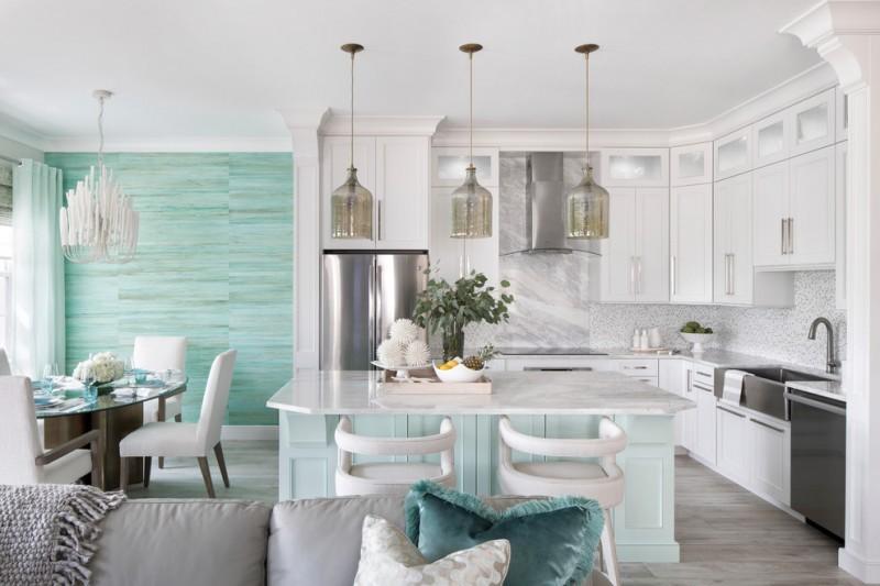 nautical kitchen l shaped kitchen cabinets unique pendant lights tosca kitchen island granite countertops blue wall accent