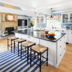 Nautical Kitchen Striped Black And White Rug Flowery Valances White Kitchen Cabinets And Island Wood Sink Mural Black And White Countertops