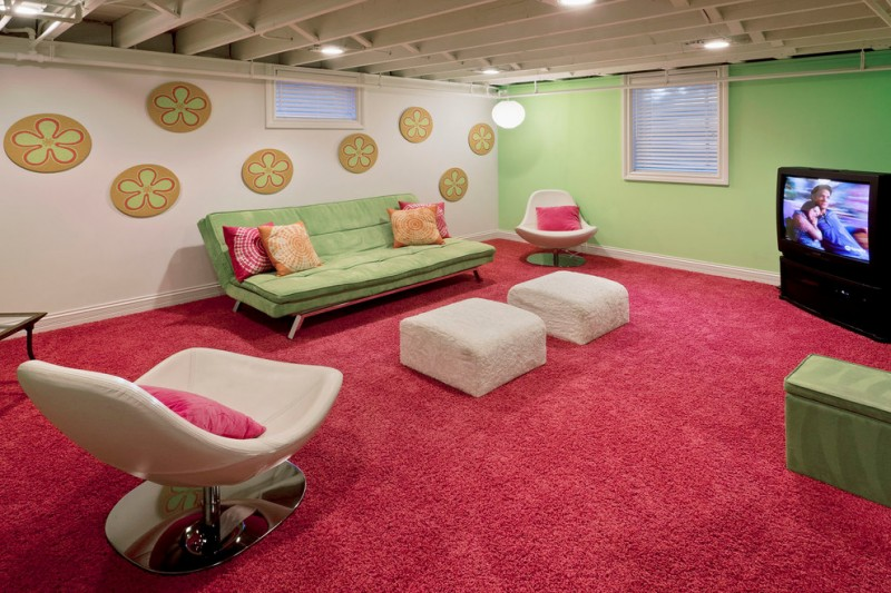 open ceiling open beams ceiling lights large pink shag rug green couch white ottomans beige chairs colorful wall decors windows