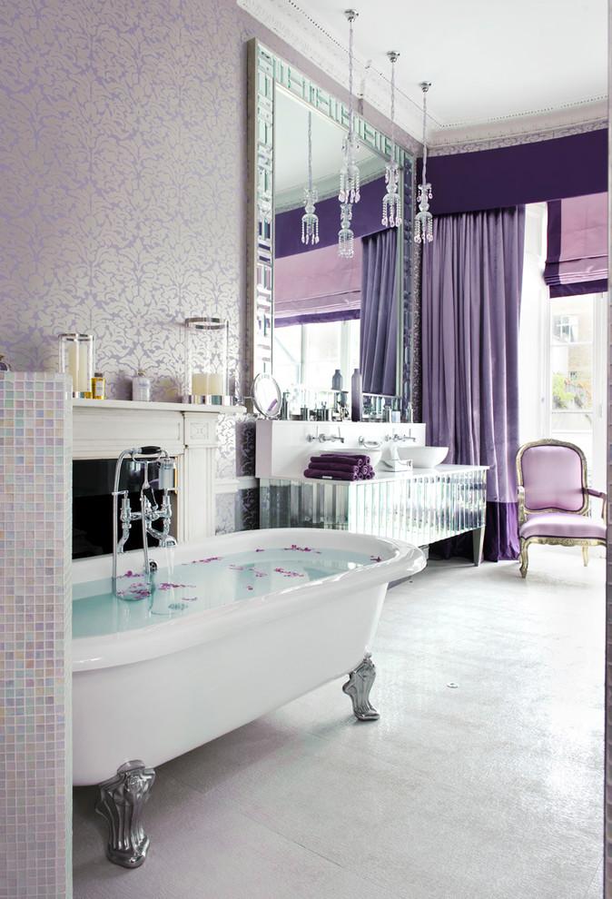 purple bathroom accessories purple drapes purple armchair purple wallpaper freestanding tub big mirror mirrored vanity sink