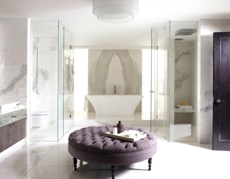 purple bathroom accessories purple ottoman purple shampoo bottle purple door glass shower doors chandelier tub vanity