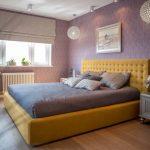 Purple Master Bedroom Chandelier Purple Wallpaper Purple Bedding Yellow Bed With Tufted Headboard Silver Nightstands Wood Floor Windows