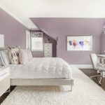 Purple Master Bedroom Purple Wall White Bedding White Shag Rug White Furniture Windows Valance Artwork Table Lamps
