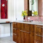 Red Bathroom Accessories Red Artwork Red Wall Tile Big Mirror Wood Vanity With Undermount Sink Faucet Wall Sconce
