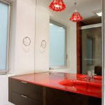 Red Bathroom Accessories Red Light Fixture Recessed Lighting Mirror Wood Vanity With Red Countertop And Undermount Sink Faucet