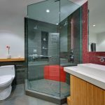 Red Bathroom Accessories Red Tile Showor Bench Corner Shower With Glass Doors Red Mosaic Tile Mirrored Cabinet Sink Recessed Lighting