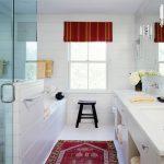 Red Bathroom Accessories Red Window Treatment Red Mediterranean Rug Glass Doors White Bathroom Window Mirror Wall Sconces