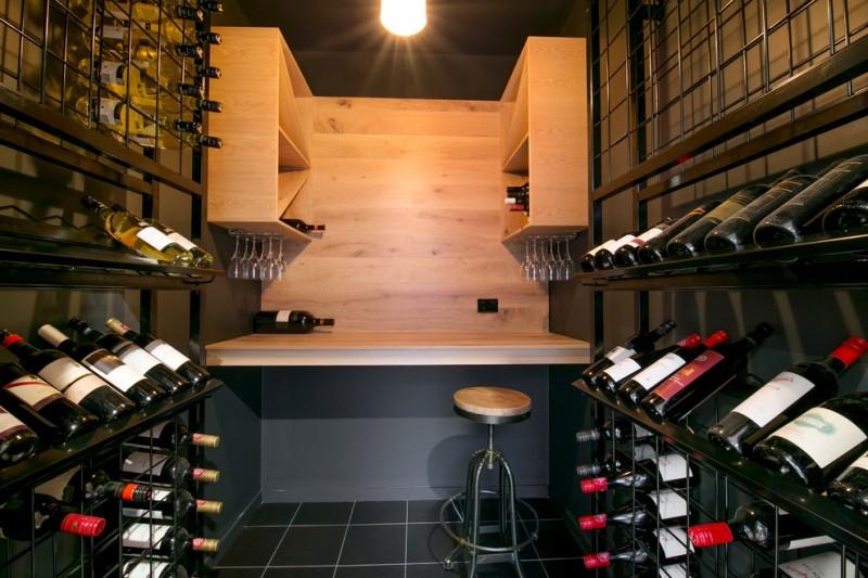wire storage black trims tiled floor bar stool light wooden cabinet open shelves wood countertop ceiling lamp