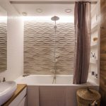 Wood Floor Wood Ceiling Wood Wall Mosaic Bathtub Mosaic Wall Textured Wall Wood Countertop Flat Panel Cabinet Rattan Basket Wall Mounted Toilet Curtain Shower Under Ceiling Lights