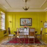 Yellow Dining Room Small Chandelier Yellow Walls Dining Table Dining Chairs Cabinet Windows Window Seats With Storage