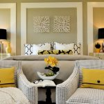 Art Deco Bedroom Furniture Naples Bowl Black Table Lamps Yellow Color Accents Curtains And Pillow Cover With The Same Pattern Armchairs