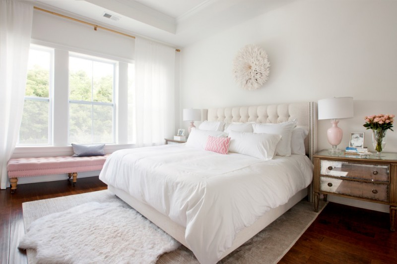 art deco bedroom furniture white flower wall deco white bed and tufted headboard white bedding table lamps shag rug window seat