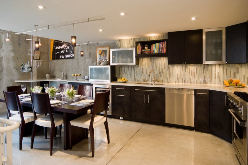 backsplash for dark cabinets beige and brown mosaic vertical backsplash dark brown cabinets dining table and chairs pendants