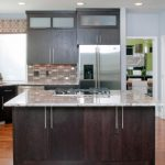 Backsplash For Dark Cabinets Limestone Porcelain And Stainless Steel Tiles Expresso Cabinets Wood Floor Windows Corner Sink Island