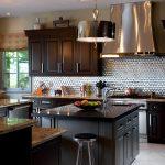 Backsplash For Dark Cabinets Metal Backplash Black Cabinets And Countertops Grey Island Barstool Chandelier Window