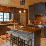 Backsplash For Dark Cabinets Red Brick Backsplash Tiles Dark Wood Cabinets Kitchen Island Barstools Ceiling Pendants Windows