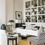 Black And White Living Room Furniture White Sofa And Armchair Black Coffee Table Black Drawers Built In Shelves Black And White Decor