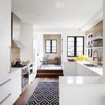 Black White Area Rug Kitchen Rug White Kitchen Cabinets Range Hood Windows Wood Flooring Range Hood White Countertops