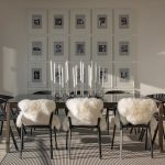 Black White Area Rug Stripe Area Rug Glass Dining Table Black Industrial Dining Chairs Shag Cushions Art Wall Decor Candles Holders