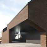 Brick Wall Flat Panel Garage Dark Garage Concrete Pavement Glass Window