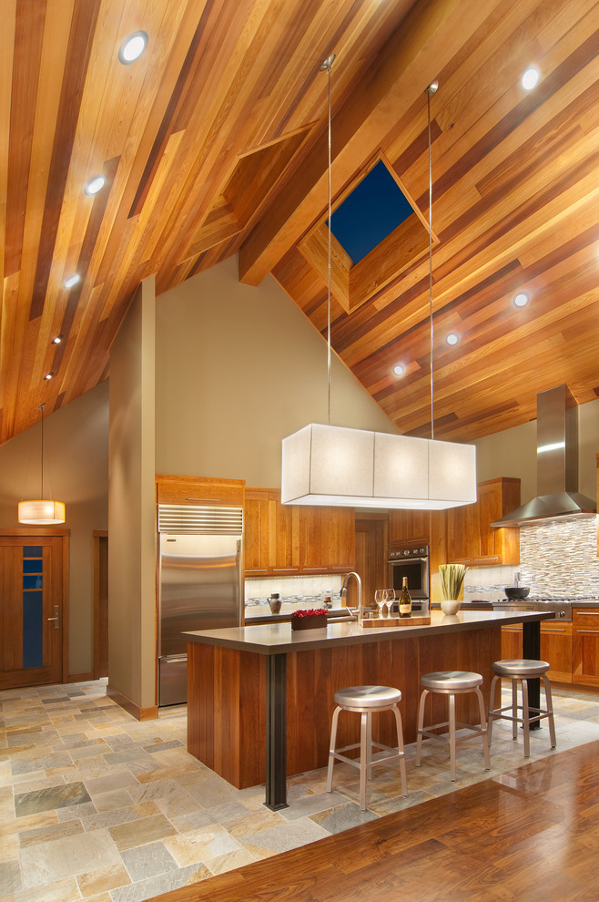 cathedral ceiling lighting wooden ceiling recessed lighting modern chandelier kitchen cabinets and island silver barstools
