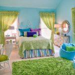 Cute Bean Blue Beans Green Shag Rug Blue Walls Green Curtains White Desk And Chair Colorful Bedding Windows Nightstands Mirror