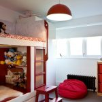 Cute Bean Bunk Bed Red Pendant Light Red Bean Red Storage Windows With Shade Built In Stairs White Walls Grey Carpet