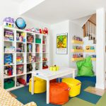 Cute Bean Colorful Beans Carpeted Staircase White Cubbies Built In Bookshelves White Table Yellow And White Sofa Area Rug