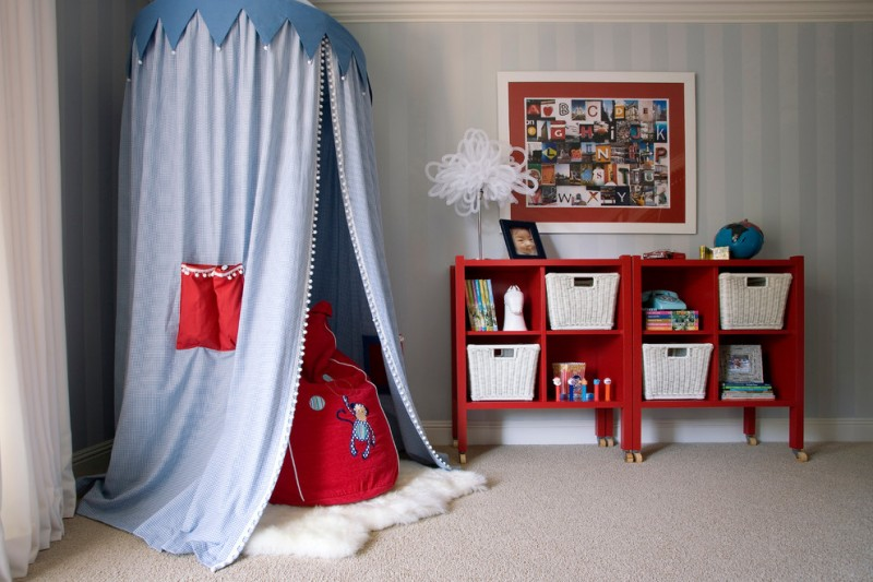 cute bean corner canopy red bean red cubbies framed wall decor white baskets unique table lamp white curtain shag rug