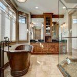 Freestanding Tub Tiled Floor Hinged Shower Door Sprayer Shower Fixture Glass Door Raised Panel Cabinet Bowl Sink Granite Countertop