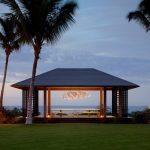 Gazebo Lighting Artistic Crystal Chandelier Long Wooden Table Wooden Benches Wooden Pillar Grey Roof Sea Landscape